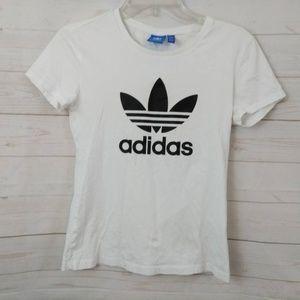 Adidas White T-shirt Trefoil Logo Kids Small